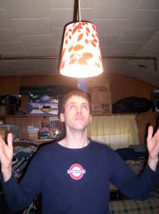 Aaron and his new ceiling lamp