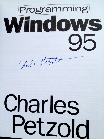 The title page of Programming Windows 95, signed by the author